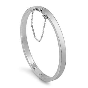 Betty's Silver Oval Shape Rectangle Tube Bangle Bracelet - 5x55x60mm