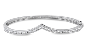 Dorothy's Silver Bangle W/ Clear CZ