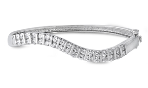 Cynthia's Silver Bangle W/ Clear CZ