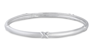 Donna's Silver Bangle W/ Clear CZ