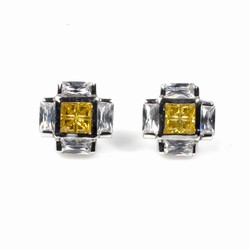 Arthur's Silver Men's Earrings with Yellow Topaz and Clear CZ