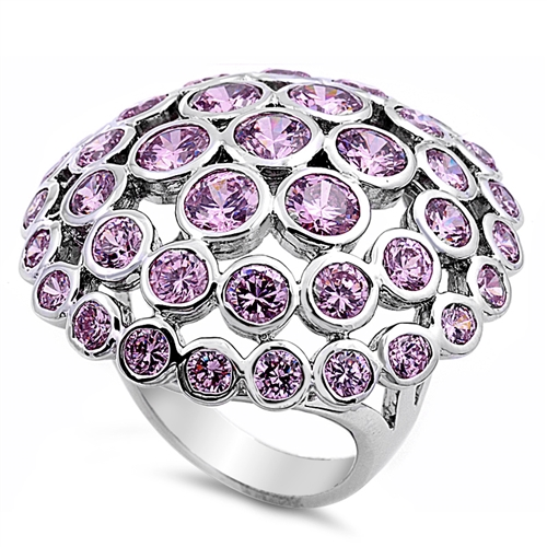 Lori's Silver Ring with Pink CZ - Mushroom
