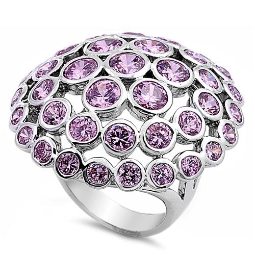 Lori's Silver Ring with Pink CZ - Mushroom