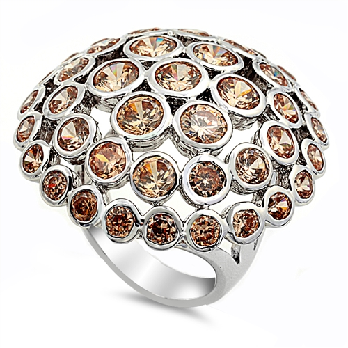 Rachel's Silver Ring with Champagne CZ - Mushroom