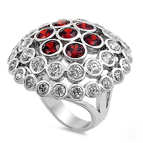 Andrea's Silver Ring with Ruby/ Clear CZ - Mushroom