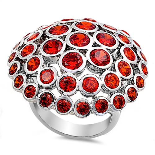 Kathryn's Silver Ring with Garnet CZ - Mushroom