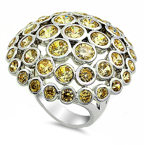 Louise's  Silver Ring with Light Yellow CZ