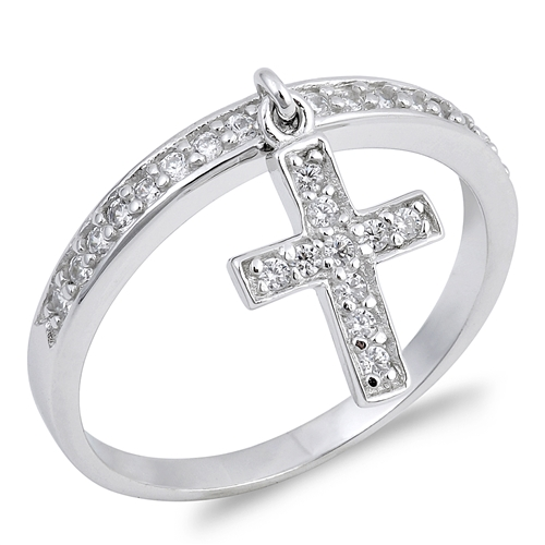 Cindy's Silver Ring with Clear CZ - Cross