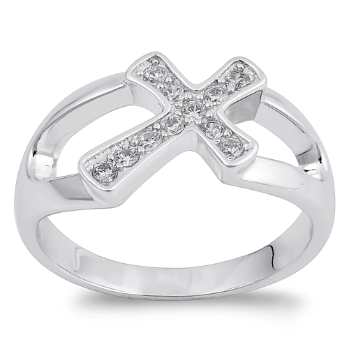 Carmen's Silver Ring with Clear CZ - Cross