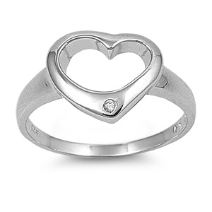 Cindy's Silver Ring with Clear CZ - Heart