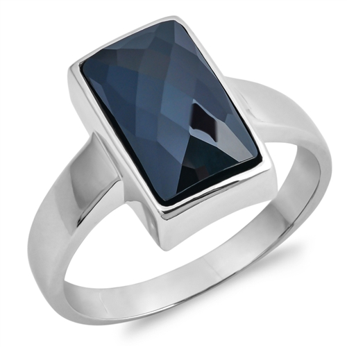 Eunice&#039;s Silver Ring with Black Square CZ
