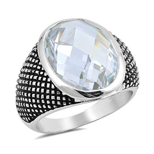 Jean's Silver Ring with Clear CZ