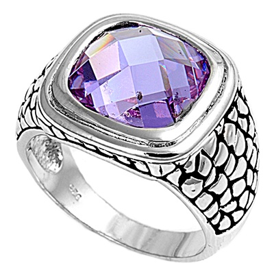 Joan's Silver Ring with Lavander CZ