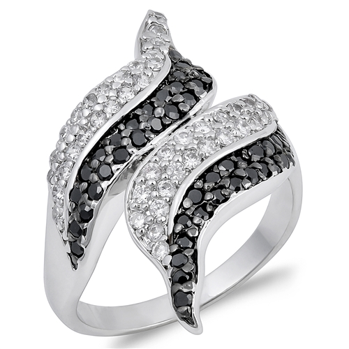 Emily's Silver Ring with Clear & Black CZ