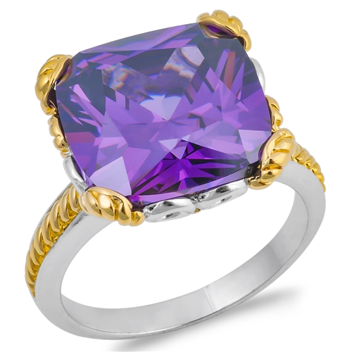 Wendy's Silver Ring with Purple CZ