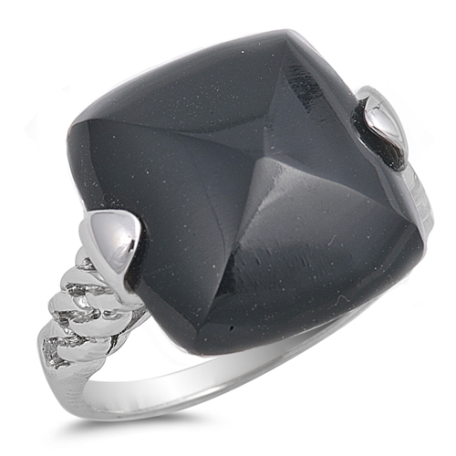 Ethel's Silver Ring with Square Black CZ