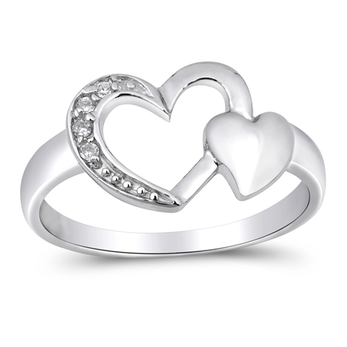 Rose's Silver Ring with Clear CZ -Heart
