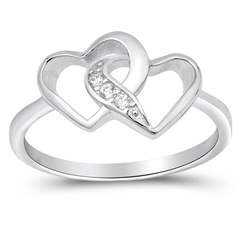 Beatrice's Silver Ring with Clear CZ - Heart