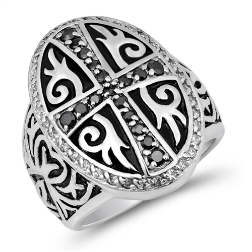 Anne's Silver Ring with Rhodium Plated - Cross