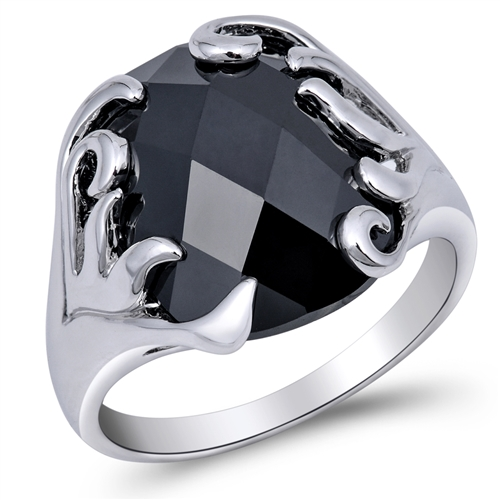 Wanda's Silver Ring with Black CZ