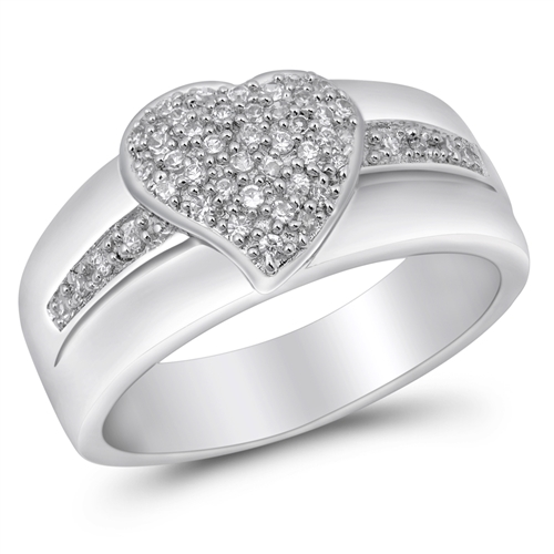 Ruby's Silver Ring with Clear CZ - Heart