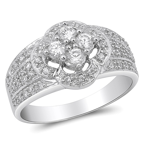 Connie's Silver Ring with Clear CZ in Floral Accent