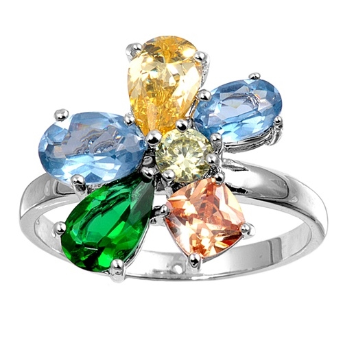 Tracy's Silver Ring with Multicolor CZ