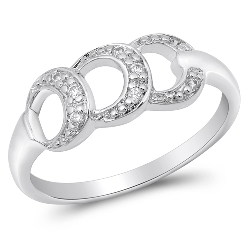 Audrey's Silver Ring with Clear CZ - 3 Circular Style