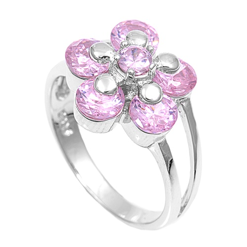 Carolyn's Silver Ring with Pink CZ