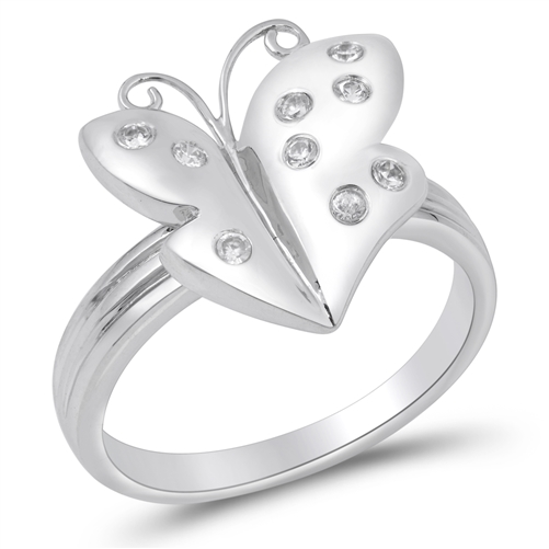 Maryann's Silver Ring with Clear CZ - Butterfly