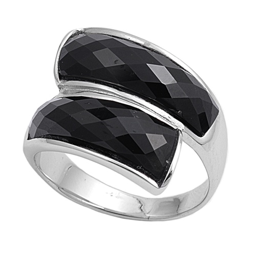 Tara&#039;s Silver Ring with Black CZ