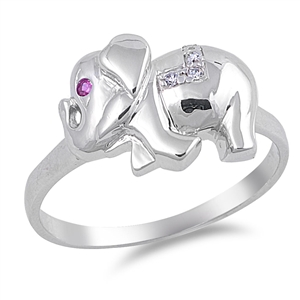 Carrie's Silver Ring with Clear / Ruby CZ - Elephant