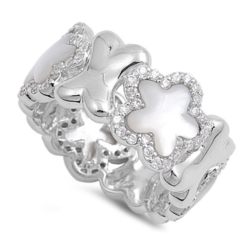 Emma's Silver Ring with Mother of Pearl / Clear CZ - Star