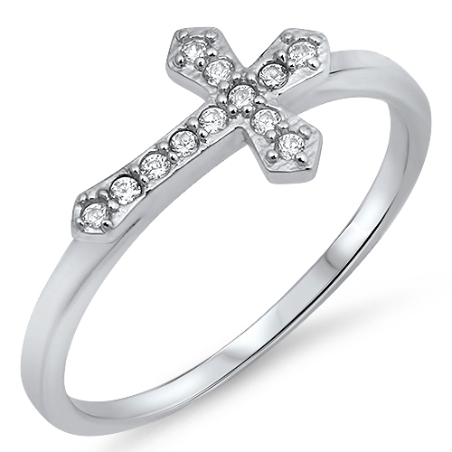 Edna's Silver Ring with Clear CZ - Cross