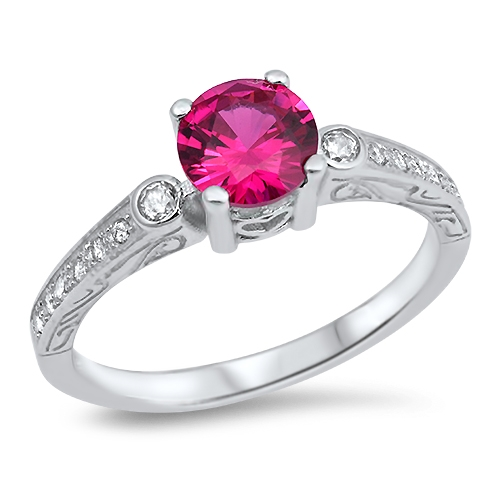 Judith's Silver Ring with Ruby, Clear CZ