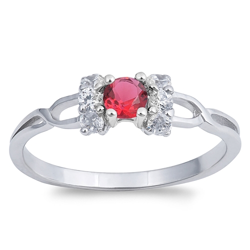 Denise's Silver Ring with Ruby, Clear CZ