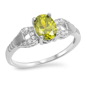 Jane's Silver Ring with Peridot / Clear CZ