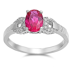 Gloria's Silver Ring with Ruby / Clear CZ