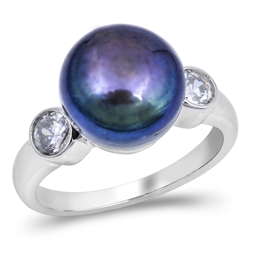 Theresa's Silver Ring with Abalone / Clear CZ