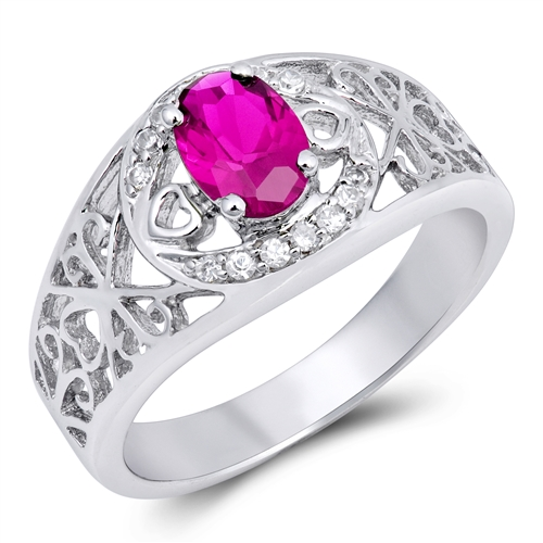 Julia's Silver Ring with Ruby CZ