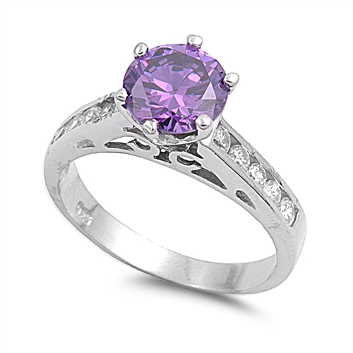 Joanna's Silver Ring with Amethyst, Clear CZ