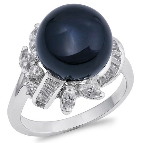 Alma's Silver Ring with Black Onyx, Clear CZ