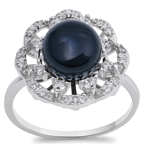 Divina's Silver Ring with Black Onyx, Clear CZ