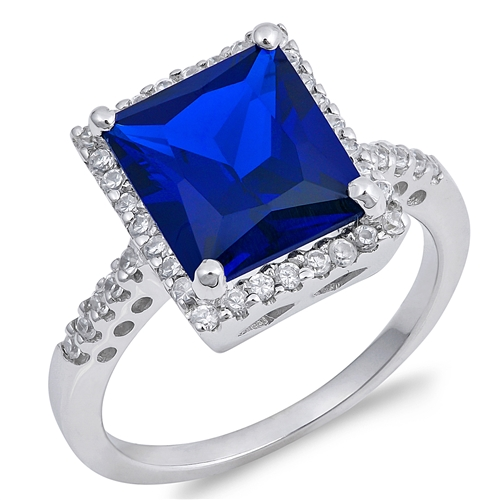 Audrey's Silver Ring with Clear /Blue Sapphire CZ