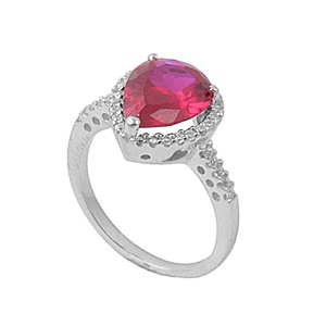 Annette's Silver Ring with Clear / Ruby CZ
