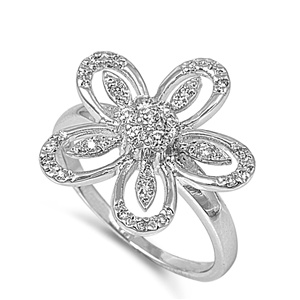 Irene's Silver Ring with Clear CZ - Plumeria