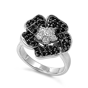 Kathy's Silver Ring with Black, Clear CZ
