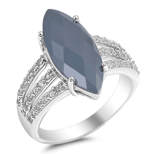 Sara's Silver Ring with Black, Clear CZ