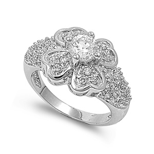 Alexandra's Silver Ring with Clear CZ - Plumeria