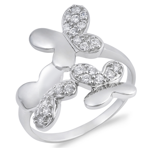 Priscilla's Silver Ring with Clear CZ - Butterflies